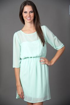 EVERLY: Sheer Excitement Dress- Mint