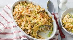Cooler weather have you craving comfort food? Check out this awesome chicken, asparagus and mushroom pasta bake