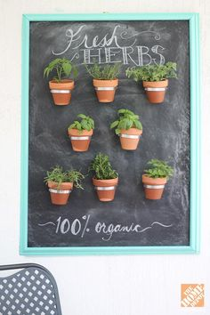"""Chalkboard paint is everywhere nowdays, and we love this """"framed"""" herbs project by blogger Amber Kemp-Gerstel of Damask Love. Get the how-to on The Home Depot Blog."""