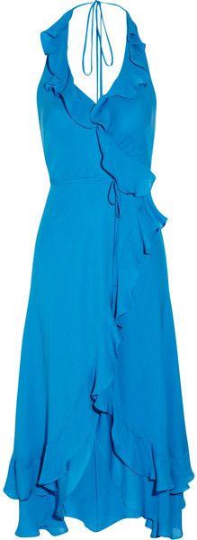 HAUTE HIPPIE  Blue Ruffled Silk wrap dress with halter neck and high-low hem.