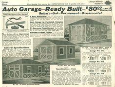 Ready Built Garages from 1914 Chicago Millwork Plan Catalog.