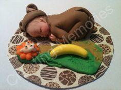 Monkey Baby Cake Toppers/Edible Vanilla Fondant/BABY by anafeke, $16.00