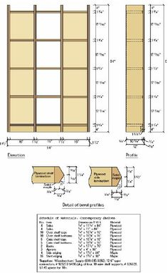 Woodworking plan for shelves.