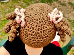 Little Miss Curly Q Beanie Pattern - beanie with pigtails - so cute!!!!