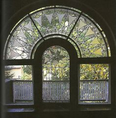 Charles Roberts House floral window design 1896 Oak Park IL Frank Lloyd Wright (1867-1959)