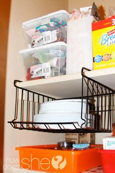 5 Genius Pantry Organization Tips! Plus a round-up of readers' tips! Add yours! pantry organisation, kitchen pantries, cabinet organization, organized pantry, laundry rooms, laundry closet, pantry organization, organizing pantry, paper plates