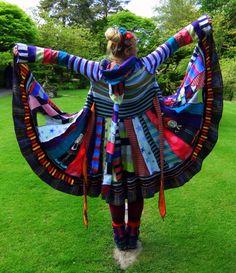 Cyuute upcycled pixie elf sweater-coat by Fairytea.