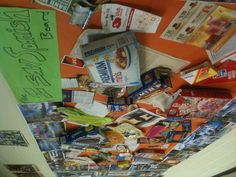 """The """"I Saw Spanish"""" board, students bring in packages/bags/containers that have Spanish on them."""