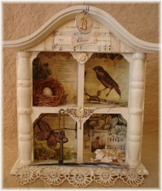 Cute embellished bird shadow box - inspiration  ***********************************************   The Feathered Nest - #altered #art #mixed #media #bird #shadowbox