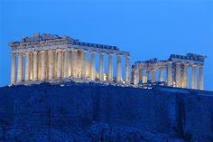 The Parthenon atop the Acropolis in #Athens #Greece at sunrise
