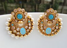 Turquoise Blue Chand Balis Indian Jewelry Enameled by Alankaar