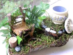 Fairy House Woodland Garden Chair Painted by BetweenTheWeeds, $38.00