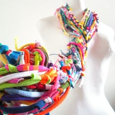 Technicolor Gypsy Infinity Scarf Bright Colors by LovelySquid, $80.00 made from knotted upcycled clothing