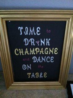 Bachelorette party decor - gorgeous poster & gold frame. $20.00, via Etsy.