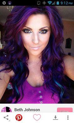 Purple Hair Streaks on Pinterest   Pink Hair Streaks, Blue Hair Strea ...