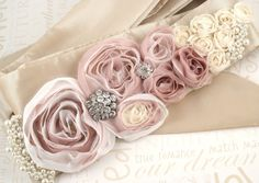 Bridal Sash in Blush, Cream and Ivory with Handmade Flowers, Brooches and Pearls- Heavenly