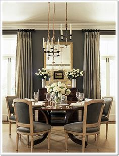 Grey dining room wall colors, dining rooms, grey walls, dine room, color schemes, gray walls, dining room colors, round tables, elegant dining