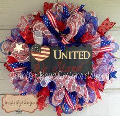 United We Stand Flag Patriotic USA Red, White, and Blue Deco Mesh Wreath by Jennifer Boyd Designs.  JenniferBoydDesigns.etsy.com www.facebook.com/JenniferBoydDesigns