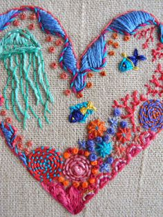 embroidered heart - One Bunting Away