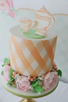 Love this CAKE at a Mint, Pink, and Gold Tea Party with So Many Really Cute Ideas via Kara's Party Ideas   KarasPartyIdeas.com #BridalShower #PartyIdeas #PartySupplies #TeaParty #cake