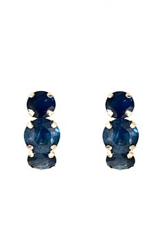 Majesty Diamonds 2.60 CTW 14k Yellow Gold Sapphire Earrings