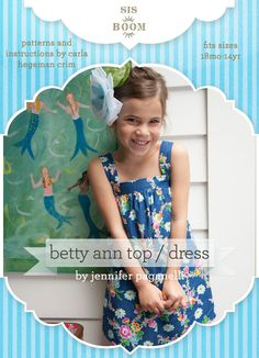 fairytale frocks and lollipops :: sis-boom, sis boom, jennifer paganelli, carla crim, scientific seamstress, betty ann top or dress, bettyann, girl, baby, infant, toddler, child, tween, teen, children's sewing pattern, girls sewing pattern, pdf sewing pattern, spring, fall, summer, shift, dress, top, pocket, comfortable, length options, maxi dress, layering, special occasion, boutique, event, holiday, birthday, party, straps, shoulder strap, holiday, sewing, instant, digital, download, pdf, ...
