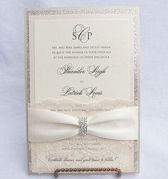 LALA - EMBELLISHED Glitter and Lace Wedding Invitations
