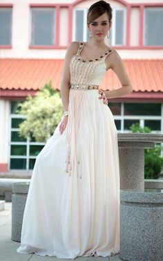 Off-white Sexy Spaghetti Straps Beaded Gowns Evening Dress