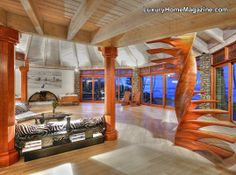 Oceanfront Estate with Unique Interior Decor #luxury #homes #hawaii #house #design #stairs #room #home #staircase