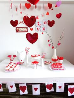 Sweet Valentine's Day dessert table!  See more party ideas at CatchMyParty.com!