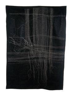 "Christine Mauersberger of Cleveland, Ohio, USA: Life Lines, hand stitched linen, silk/cotton thread, 2011, 48"" x 45"" Photo: Christine Mauersberger | Weekly Artist Fibre Interviews | World of Threads Festival"