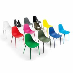 More of Mammamia Chairs. Available in stacking, non-stacking, and any custom classic RAL color you can think of! http://www.unicahome.com/catalog/index.asp?cid=12792&
