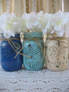 Mason Jars, Painted Mason Jars, Rustic Wedding Centerpieces, Baby Shower Decorations, Dark Blue, Light Blue And Creme Mason Jars on Etsy, $24.00