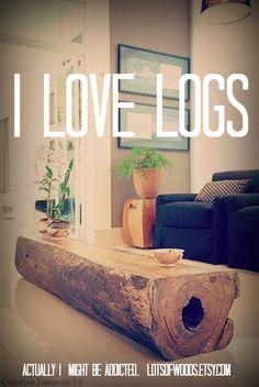 logs, log homes, log furniture. I love it all!  #love, #logs, #lotsofwoods