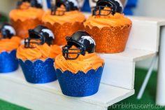 DIY football bleachers for a Denver Broncos football themed party
