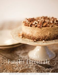 Orange Infused Pumpkin Cheesecake VEGAN - from the FREE E-Book : HEALTHY HOLIDAYS : 22 page Gluten-Free & Vegan RECIPES  http://www.lifeologia.com/healthy-holidays-15-recipe-gluten-free-vegan-e-book/