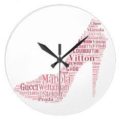 Stiletto Word Art Wall Clock
