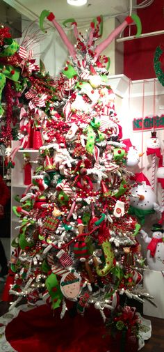 Red green and white whimsical #Christmas Tree. Christmas #Red #white  #christmas #holiday #green