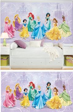 Disney princess decals and wallpaper on pinterest wall for Disney princess wall mural stickers
