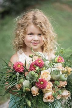 The bouquet is bigger than this adorable flower girl: http://www.stylemepretty.com/little-black-book-blog/2014/09/30/where-the-wild-things-wed-inspiration/ | Photography: Hudson Nichols - http://www.hudsonnicholsphotography.com/
