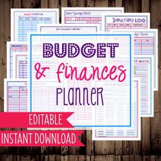 INSTANT DOWNLOAD and EDITABLE-Budget and Finances Planner-Budget Printable, Budget Planner, Budget Binder Printable-12 Documents-Dots