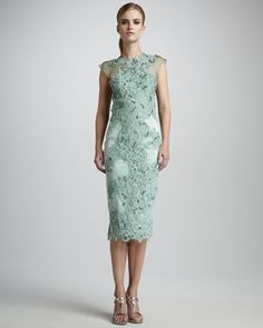 bridesmaid! Gorgeous Mandalay Embroidered Lace Cocktail Dress at Neiman Marcus - check out more of this #Mint inspiration board