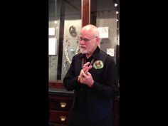 """Bob after being surprised with """"The Bob Ebendorf Commemorative Pin Exhibition."""" Seventy-five artists made pins honoring Bob, I was lucky to be one of the 75 artists invited.  Loved seeing his reaction, such a wonderful moment!"""
