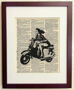 Vespa Scooter Woman Art Print on Vintage Antique par Walkslee, $6,99