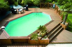Houten zwembaden wooden pools on pinterest for Zwembad half inbouw