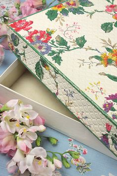 Vintage Home - 1950s Wallpaper Covered Box.