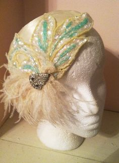 1920's Ivory Silk and Mint Sequined Feather Fascinator-The Great Gatsby Wedding Vintage Bride