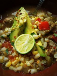 Slow-Cooked Pork Tomatillo Soup With Corn & Hominy - Hispanic Kitchen