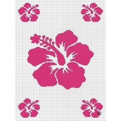 HOT PINK OR MAKE ANY COLOR YOU LIKE HAWAIIAN HAWAII HIBISCUS SILHOUETTE CROCHET PATTERN GRAPH AFGHAN BLANKET THROW BED B