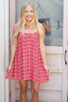 Red Print Cami Dress